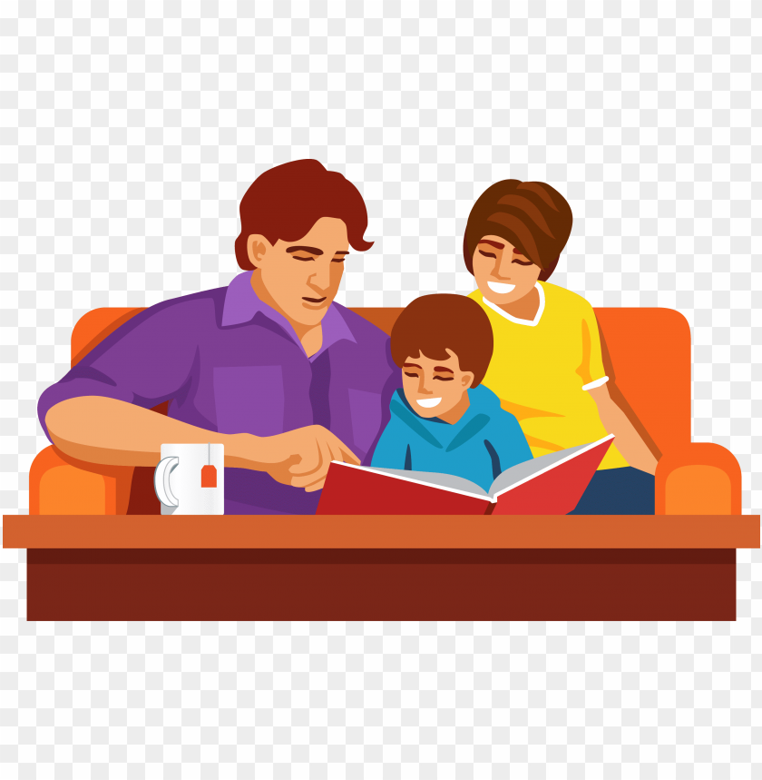 free PNG family reading together cartoon PNG image with transparent background PNG images transparent