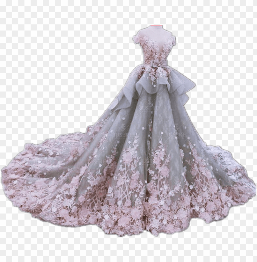 free PNG fancy noble luxurious heavy beading wedding dress ball - pink ball gown wedding dress PNG image with transparent background PNG images transparent