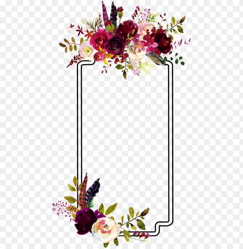 free PNG fashion flower border decoration vector - flower watercolor burgundy frame png - Free PNG Images PNG images transparent