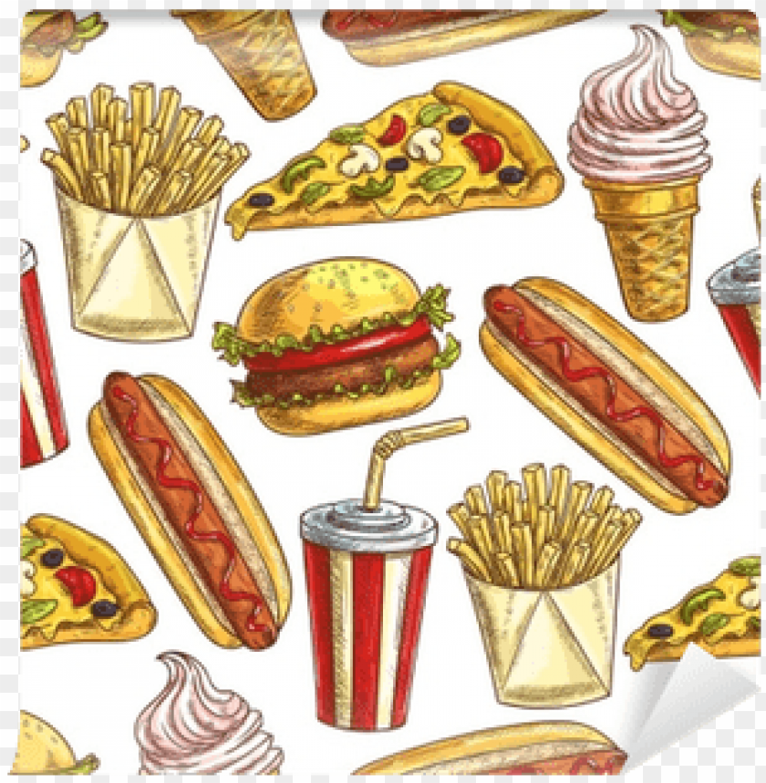 free PNG fast food meal snacks and dessert seamless pattern - dessert PNG image with transparent background PNG images transparent