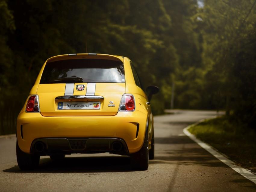 free PNG ferrari 695, ferrari, car, yellow, rear view, road background PNG images transparent