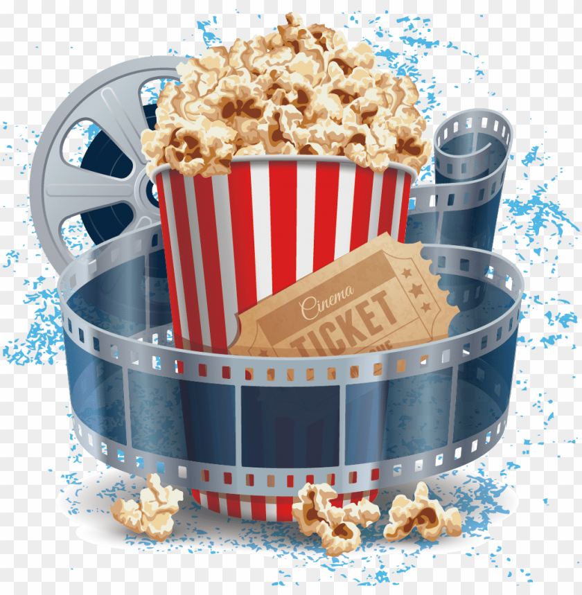 free PNG film cinema illustration - popcorn and projector movie PNG image with transparent background PNG images transparent