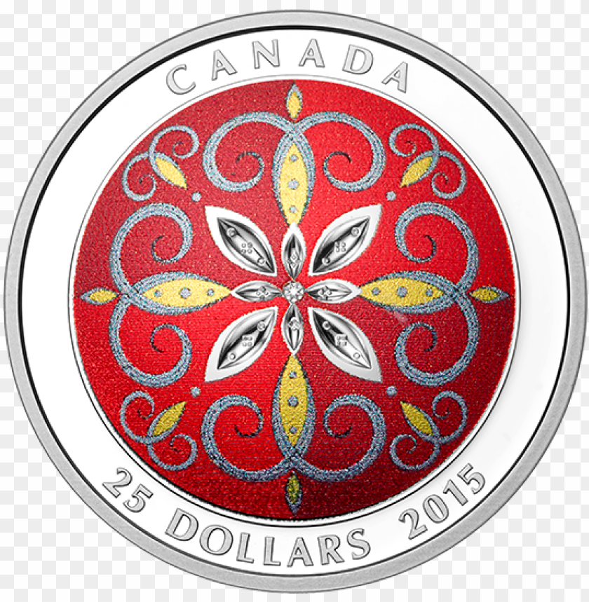 free PNG fine silver ultra-high relief coloured coin christmas - 2015 fine silver 25 dollar coin - christmas ornament PNG image with transparent background PNG images transparent
