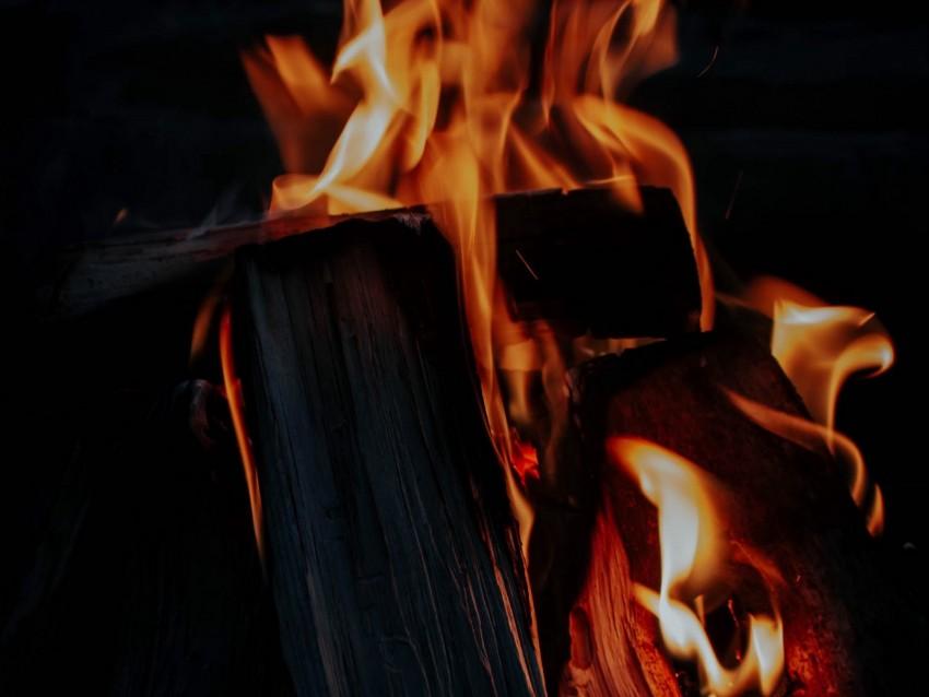 free PNG fire, bonfire, firewood, flame, dark background PNG images transparent