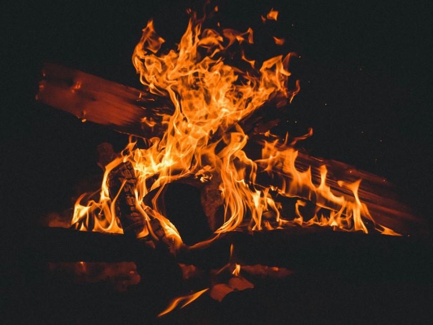 free PNG fire, bonfire, firewood, flame, dark, burning background PNG images transparent