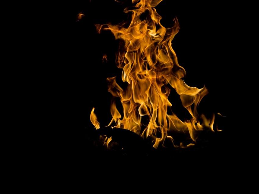free PNG fire, bonfire, flame, burn, night, dark background PNG images transparent