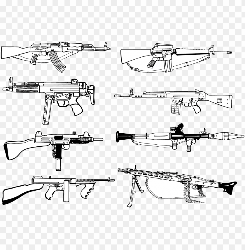 free PNG firearm weapon ak 47 machine gun - machine gun vector PNG image with transparent background PNG images transparent