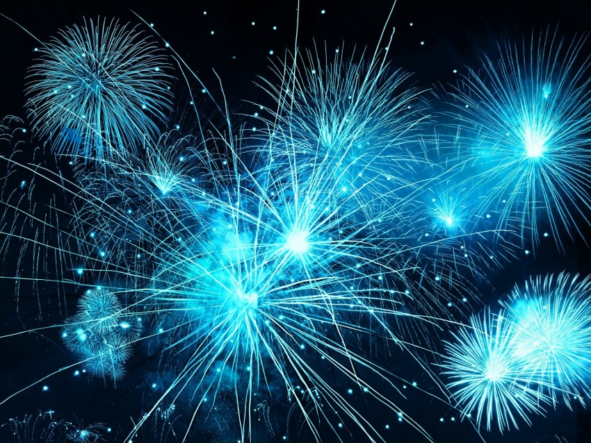fireworks, sky, flash, holiday, blue, sparks, bright background@toppng.com