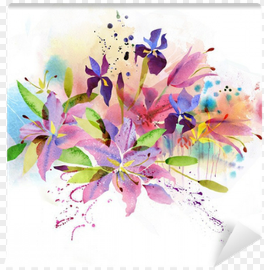 free PNG floral background with watercolor flowers wall mural - acuarela flores vintage PNG image with transparent background PNG images transparent