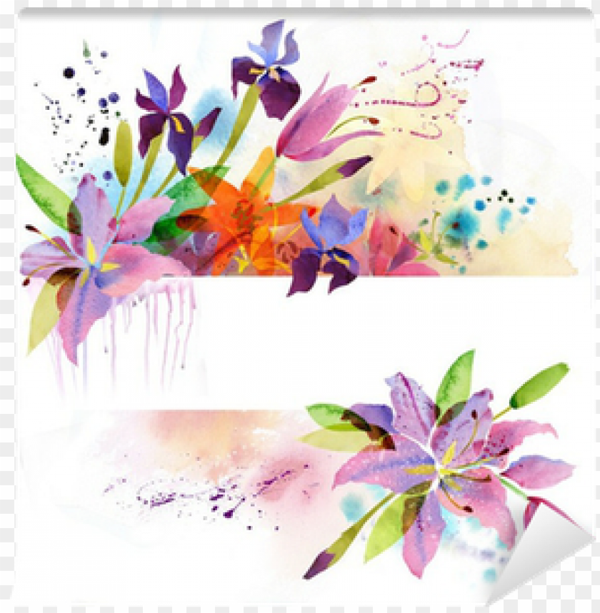 free PNG floral background with watercolor flowers wall mural - flowers forever edp 2.7 fl oz/80 ml by preferred fragrance PNG image with transparent background PNG images transparent