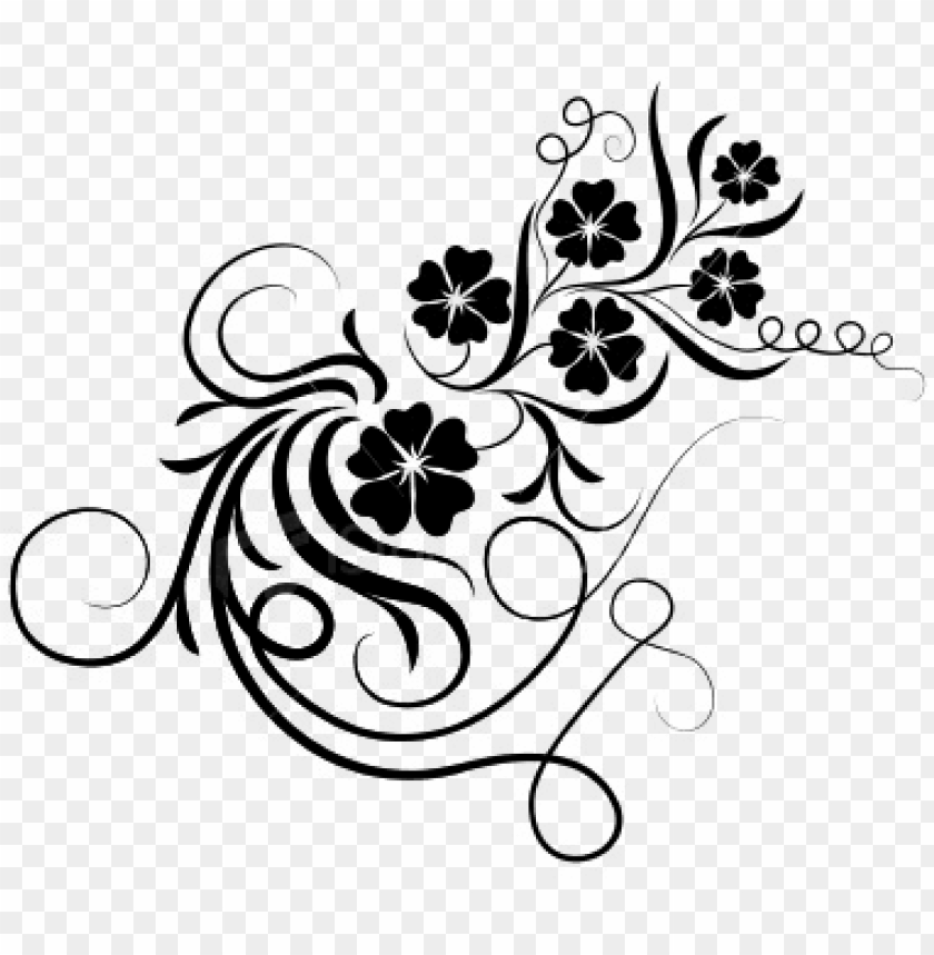 Floral Brushes Png Bingkai Bunga Hitam Putih Png Image With Transparent Background Toppng
