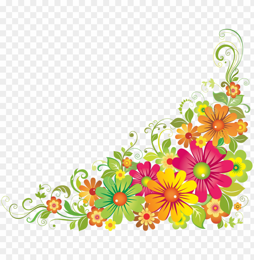 free PNG floral clipart mexican - colourful floral corner borders PNG image with transparent background PNG images transparent