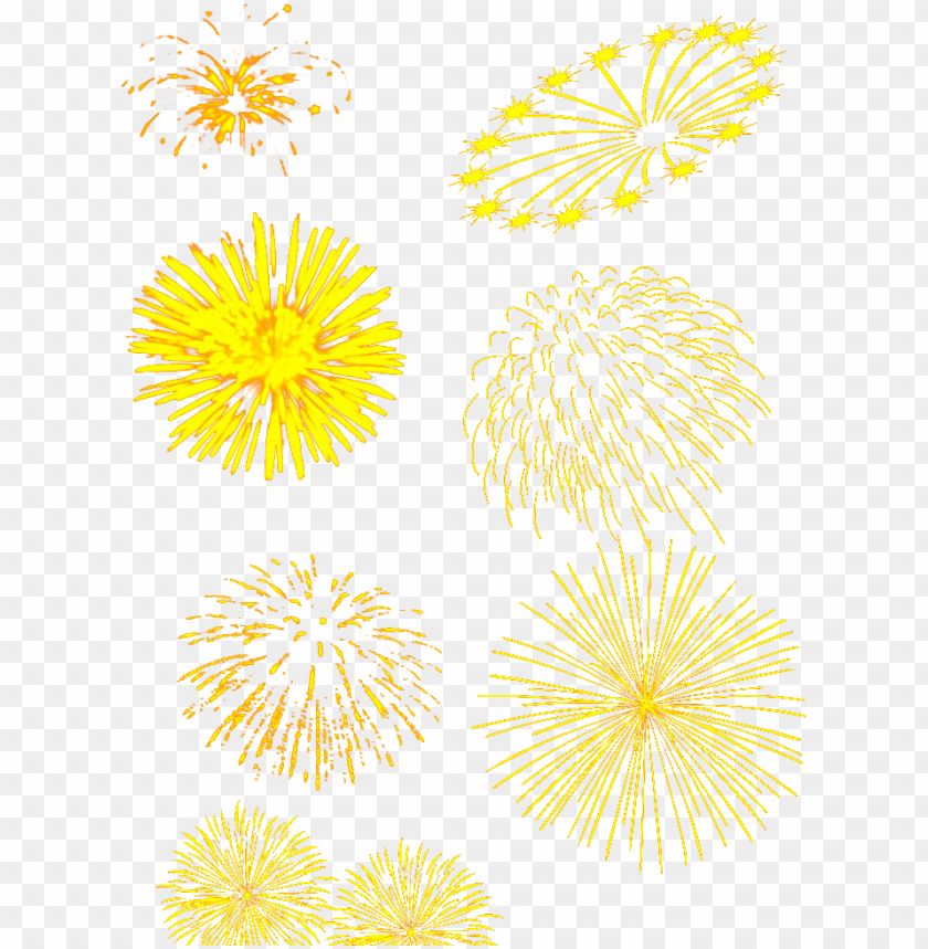 free PNG floral design yellow pattern fireworks set - new years with fireworks holiday cards PNG image with transparent background PNG images transparent