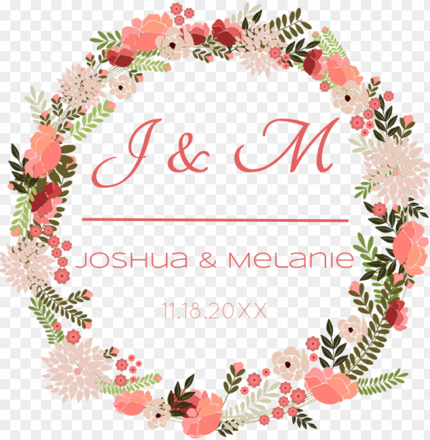 free PNG floral wreath wine label - ring of flowers vector PNG image with transparent background PNG images transparent