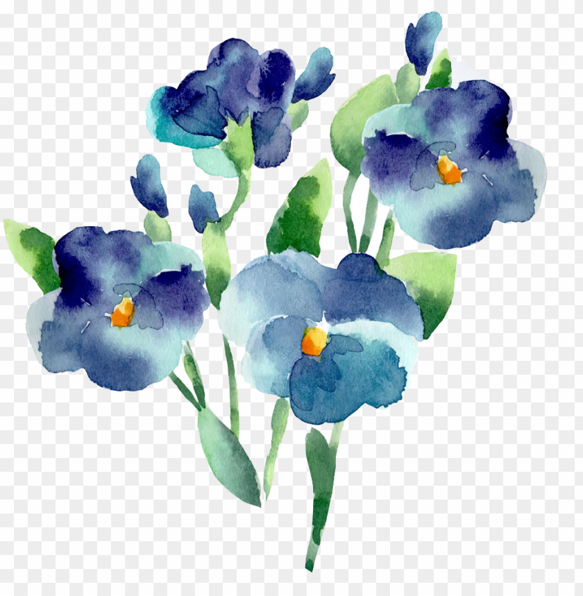 free PNG flower blue watercolor painting - blue flowers watercolor PNG image with transparent background PNG images transparent
