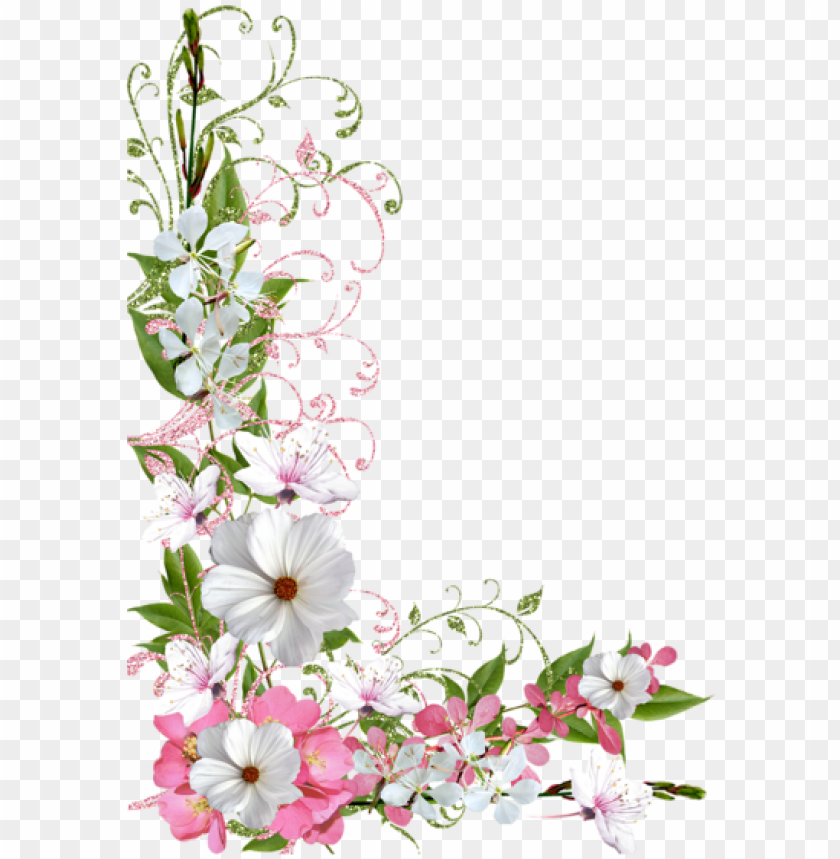 free PNG flower border clipart, flower frame, pink and green, - pastel flowers borders PNG image with transparent background PNG images transparent