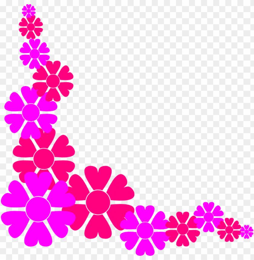 free PNG flower border for girls clip art at clker - pink flowers border clip art PNG image with transparent background PNG images transparent