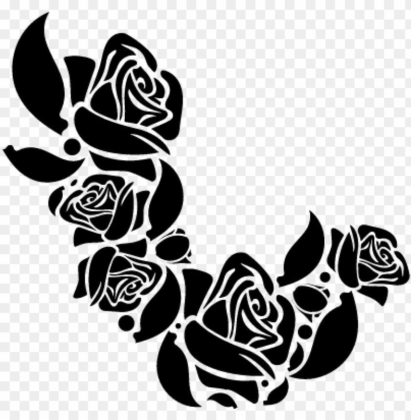 free PNG flower ornament of roses vector - black floral rose PNG image with transparent background PNG images transparent
