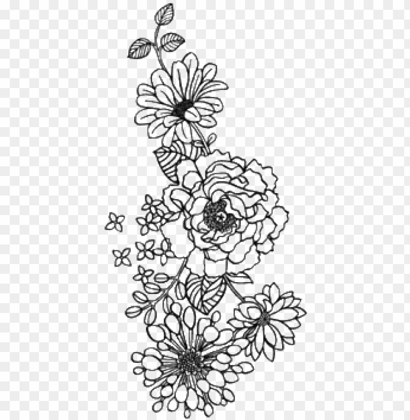Flower Outline Drawing Tumblr Tattoos Pictures Png Transparent