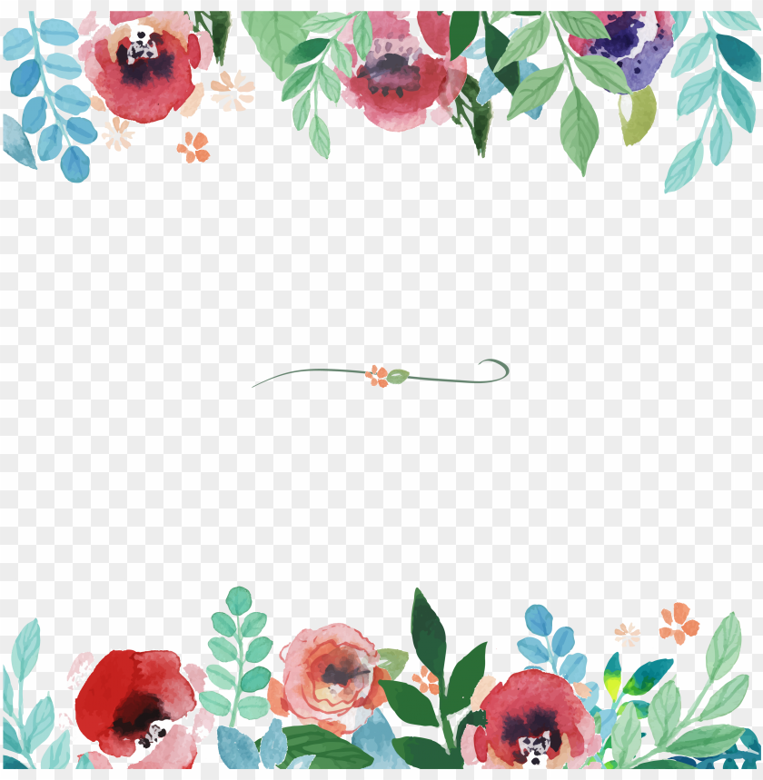 free PNG flower painting pattern floral - watercolor floral borders PNG image with transparent background PNG images transparent