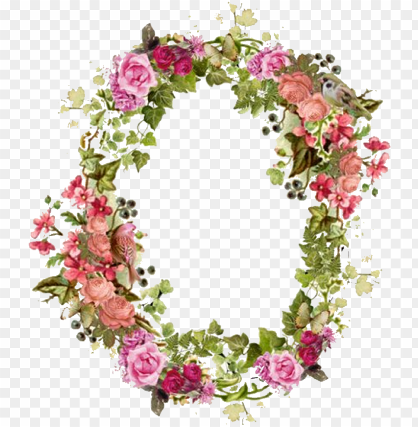 free PNG flower picture frames vintage clip art - floral borders wreath watercolour PNG image with transparent background PNG images transparent