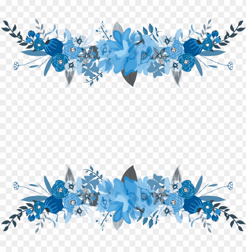 free PNG flowers floral bouquet flower border frame blue - flower frame blue PNG image with transparent background PNG images transparent
