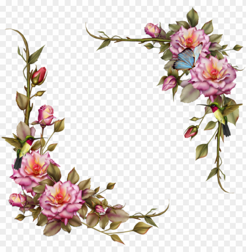 free PNG flowers flower floral corners corner frames frame bord - pink floral frame PNG image with transparent background PNG images transparent