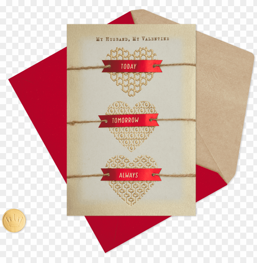 free PNG foil hearts with twine valentine's day card for husband - valentine's day PNG image with transparent background PNG images transparent
