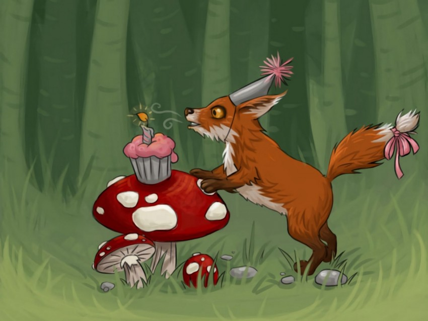 free PNG fox, mushrooms, cupcake, birthday, art background PNG images transparent