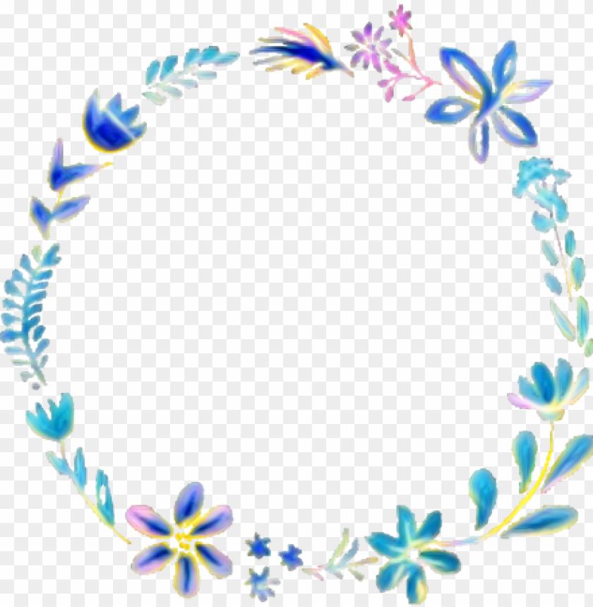 free PNG frame floral flowers sticker circle circleframe freetoe - blue floral wreath transparent PNG image with transparent background PNG images transparent