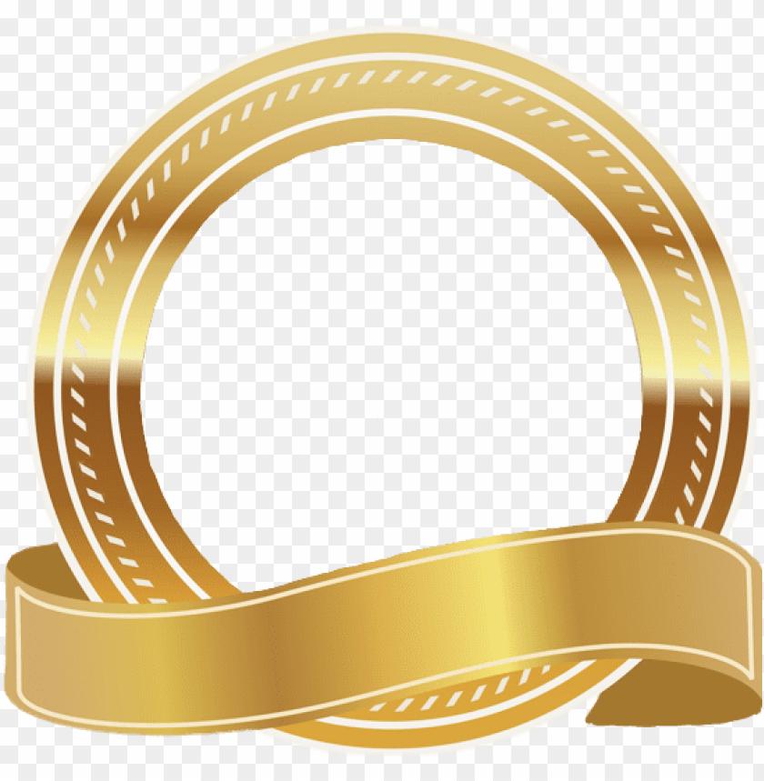 free PNG frame gold ribbon transparent sticker decor golddecorat - gold banner ribbon PNG image with transparent background PNG images transparent