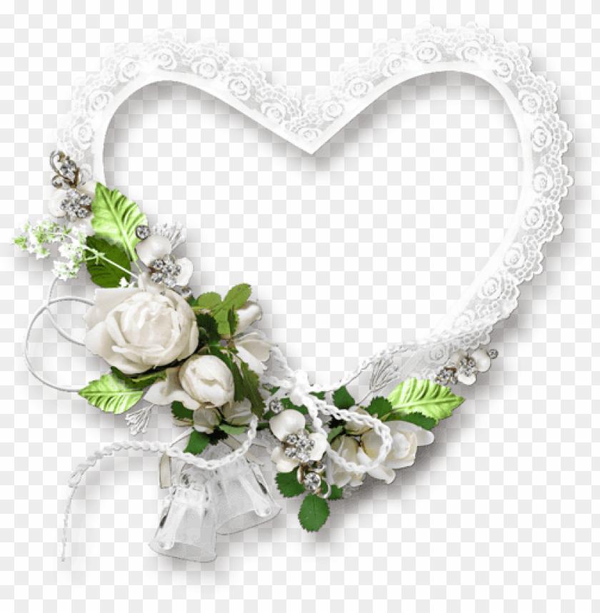 Frame Heart Wedding Romantic White Green Flowers Stick Le