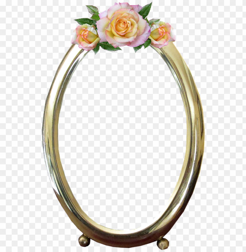 Frame Oval Gold Rose Decoration Mirror Png Image With Transparent Background Toppng