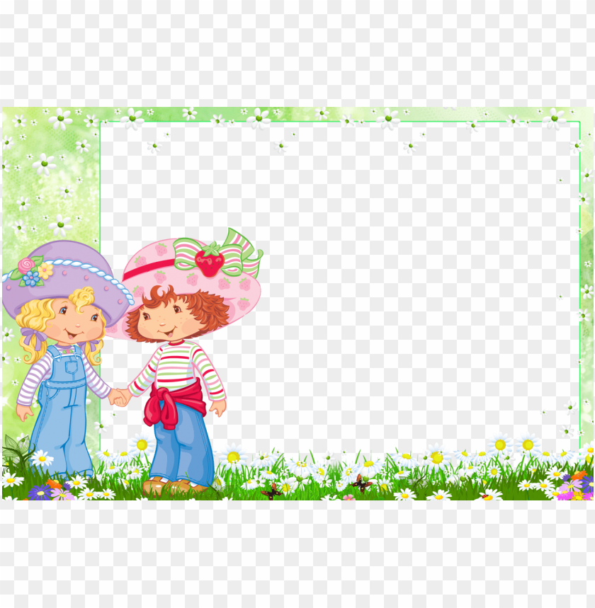 Frame With Strawberry Shortcake And Friend Background Best Stock