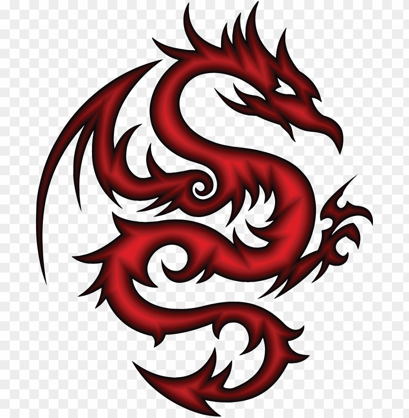 free PNG free clipart of a red dragon in tribal style - tribal dragon sv PNG image with transparent background PNG images transparent