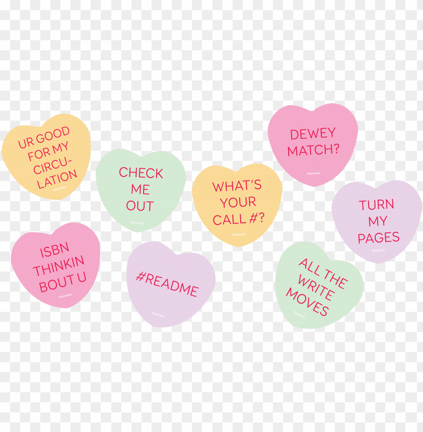free PNG free library posters for for valentines day - library themed conversation hearts PNG image with transparent background PNG images transparent