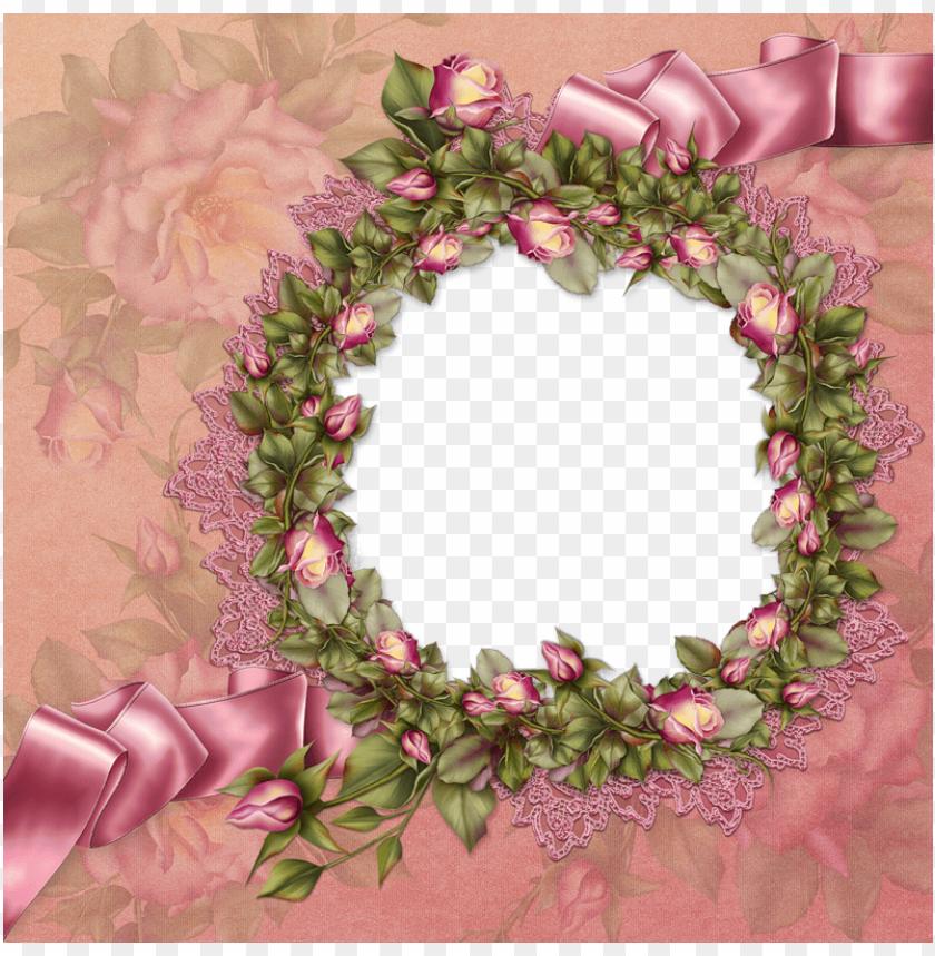 free PNG free pink vintage frame png - rosa rosen und spitze-rahmen personifizieren 8 papierteller PNG image with transparent background PNG images transparent