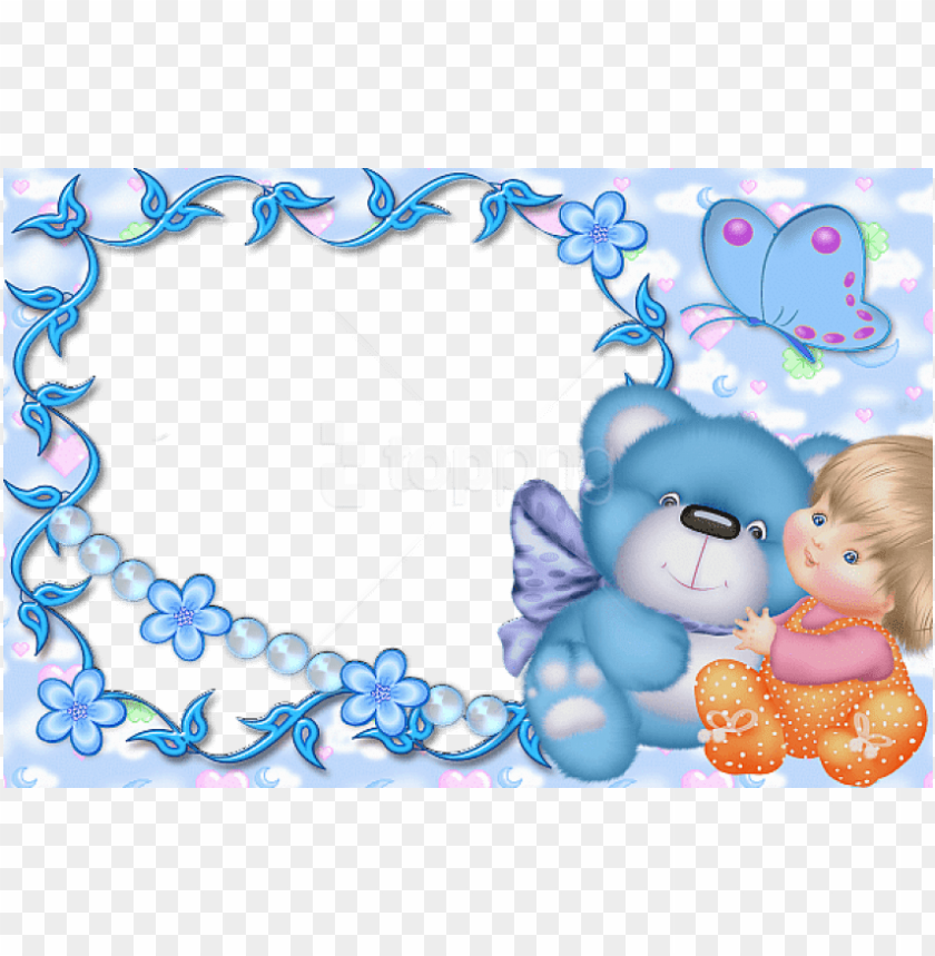 free PNG free png best stock photos cute kids blue transparent - kids teddy frame PNG image with transparent background PNG images transparent