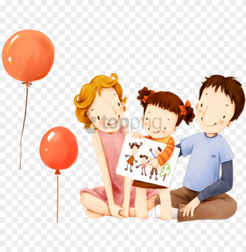 free PNG free png children's illustration of mother day and - illustration kids family PNG image with transparent background PNG images transparent