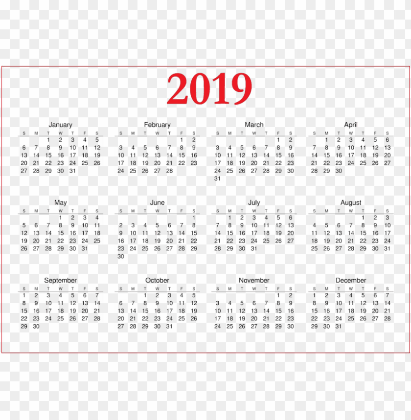 free PNG free png download 2019 calendar png images background - calendar 2019 a4 printable PNG image with transparent background PNG images transparent