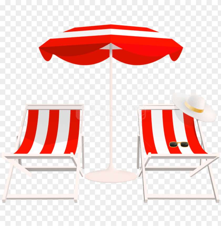 free PNG free png download beach umbrella and chairs png clipart - transparent beach chair PNG image with transparent background PNG images transparent