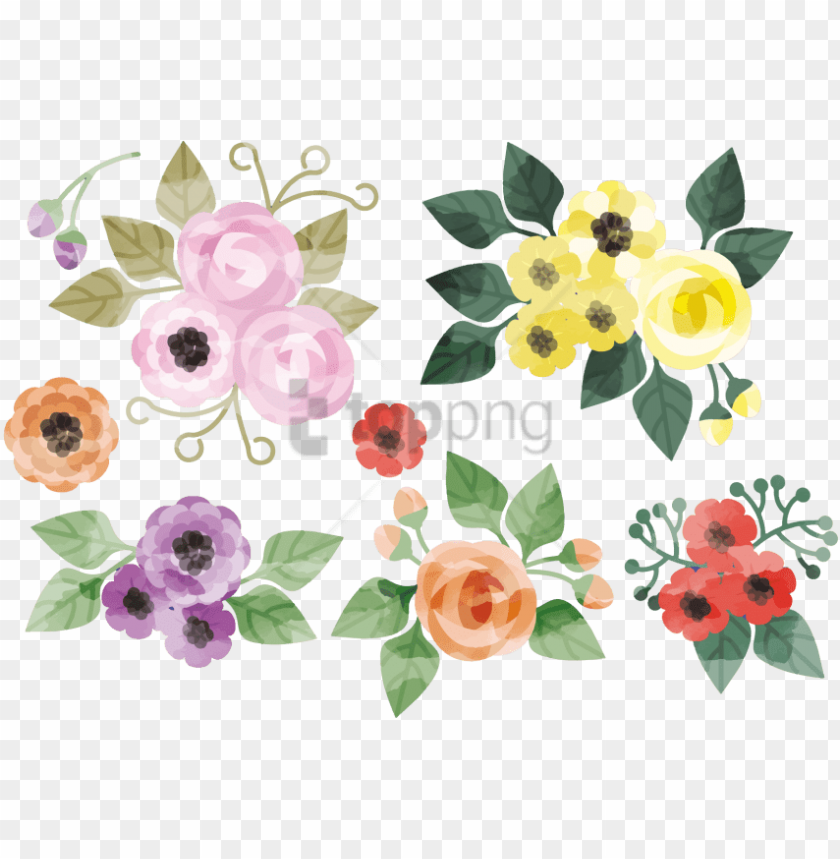 free PNG free png download flower watercolor vector png images - water color flowers vector PNG image with transparent background PNG images transparent