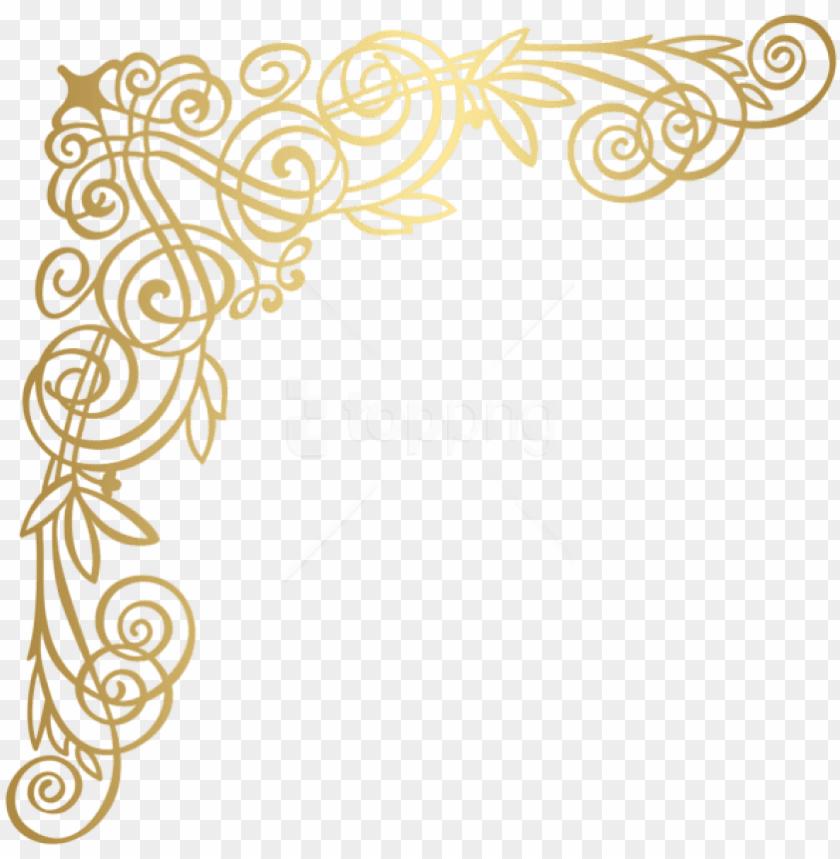 free PNG free png download golden deco corner clipart png photo - corner golden design PNG image with transparent background PNG images transparent