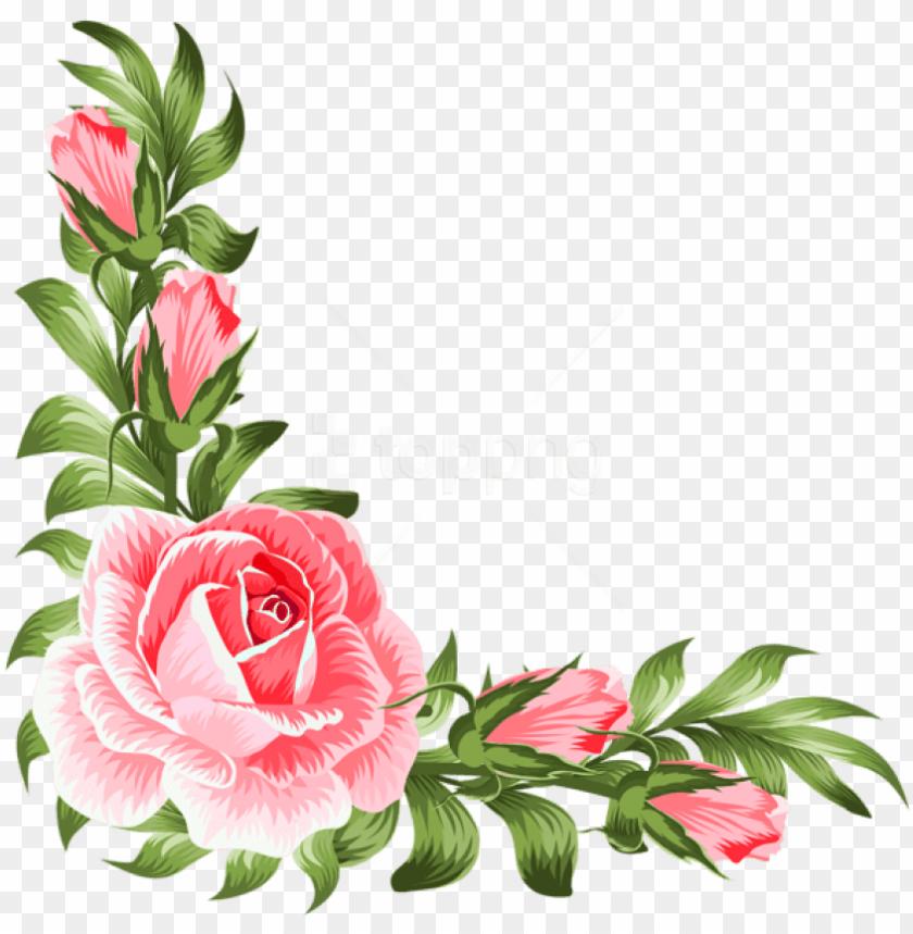 free PNG free png download rose corner decoration png clipart - transparent floral corner clipart PNG image with transparent background PNG images transparent
