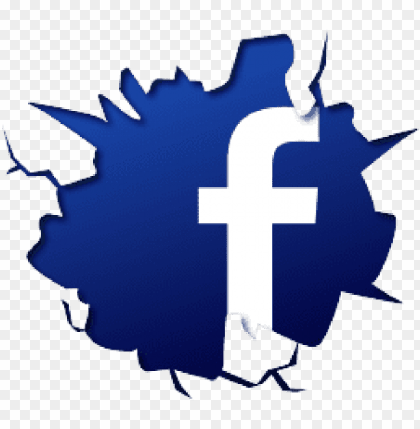 free PNG free png facebook logo fb crack break effect png images - facebook logo cracked PNG image with transparent background PNG images transparent