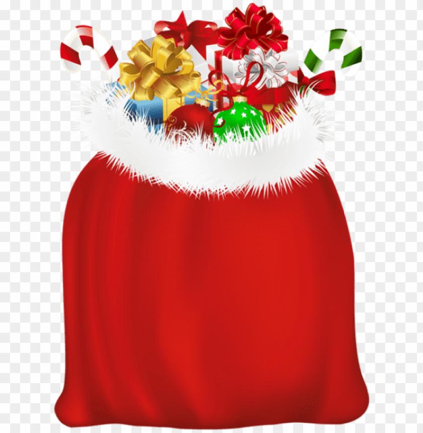 free PNG free png red santa gift bag png - bolsa de regalos de santa claus PNG image with transparent background PNG images transparent