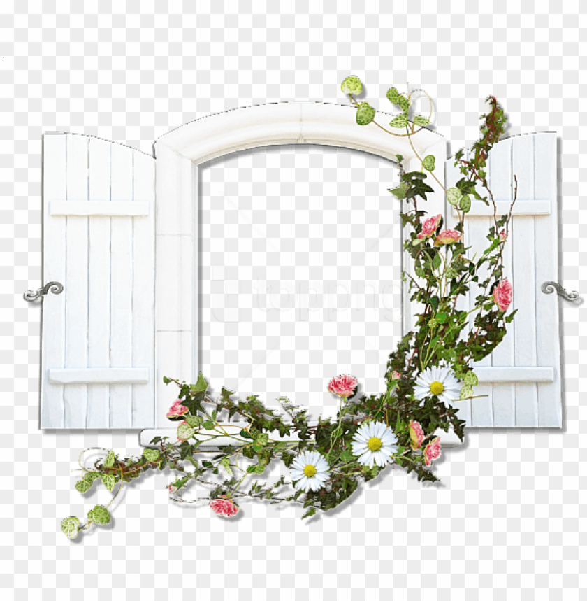 free PNG free png window with wild flowers flowers transparent - floral frame window PNG image with transparent background PNG images transparent