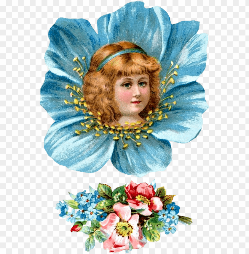 free PNG free victorian flower girl head clipartplace - florist girl vintage PNG image with transparent background PNG images transparent