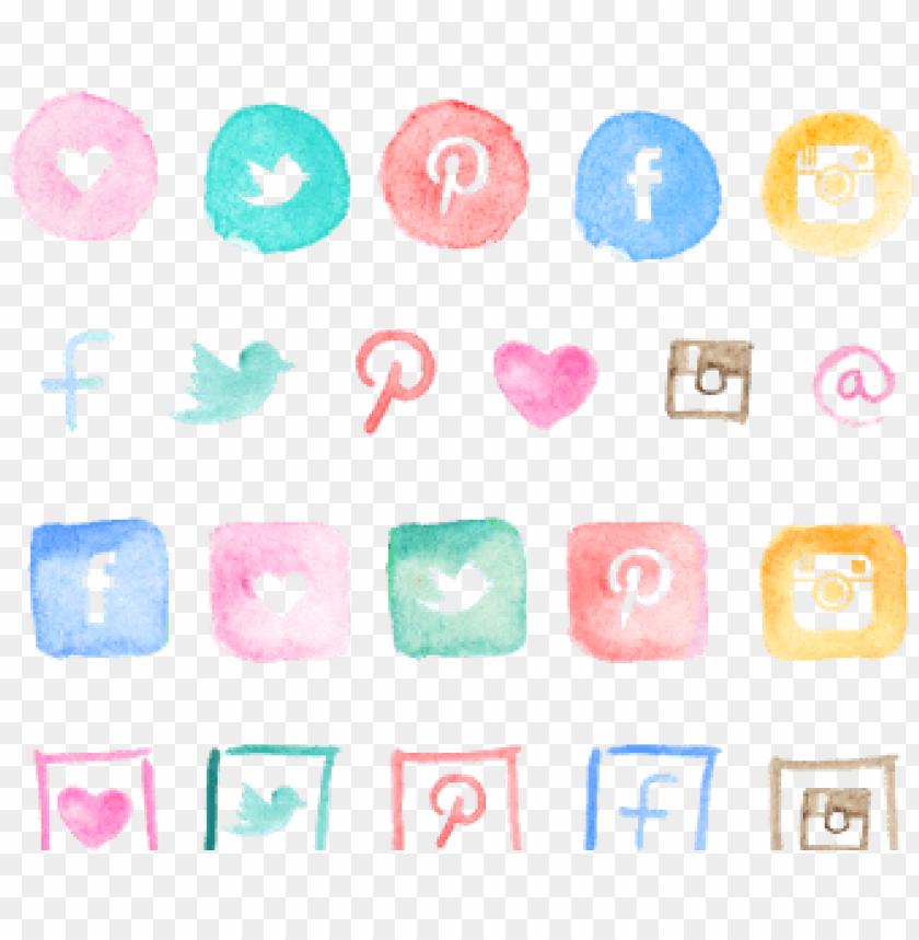 free PNG free watercolor icons - social media watercolor icons png - Free PNG Images PNG images transparent