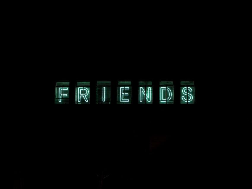 free PNG friends, inscription, neon, backlight, dark, letters background PNG images transparent